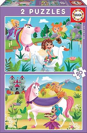 Educa Borrás- 2 20 Piezas, Puzzle Infantil Unicornios Y Hadas, Multicolor (18064) , color/modelo surtido: Amazon.es: Juguetes y juegos
