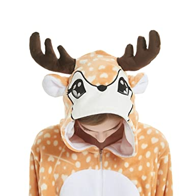 Onesie Pajamas Animal Costume Sleepwear Halloween Unisex Cosplay Adult  Women Men Christmas Fawn S 4b9e307af