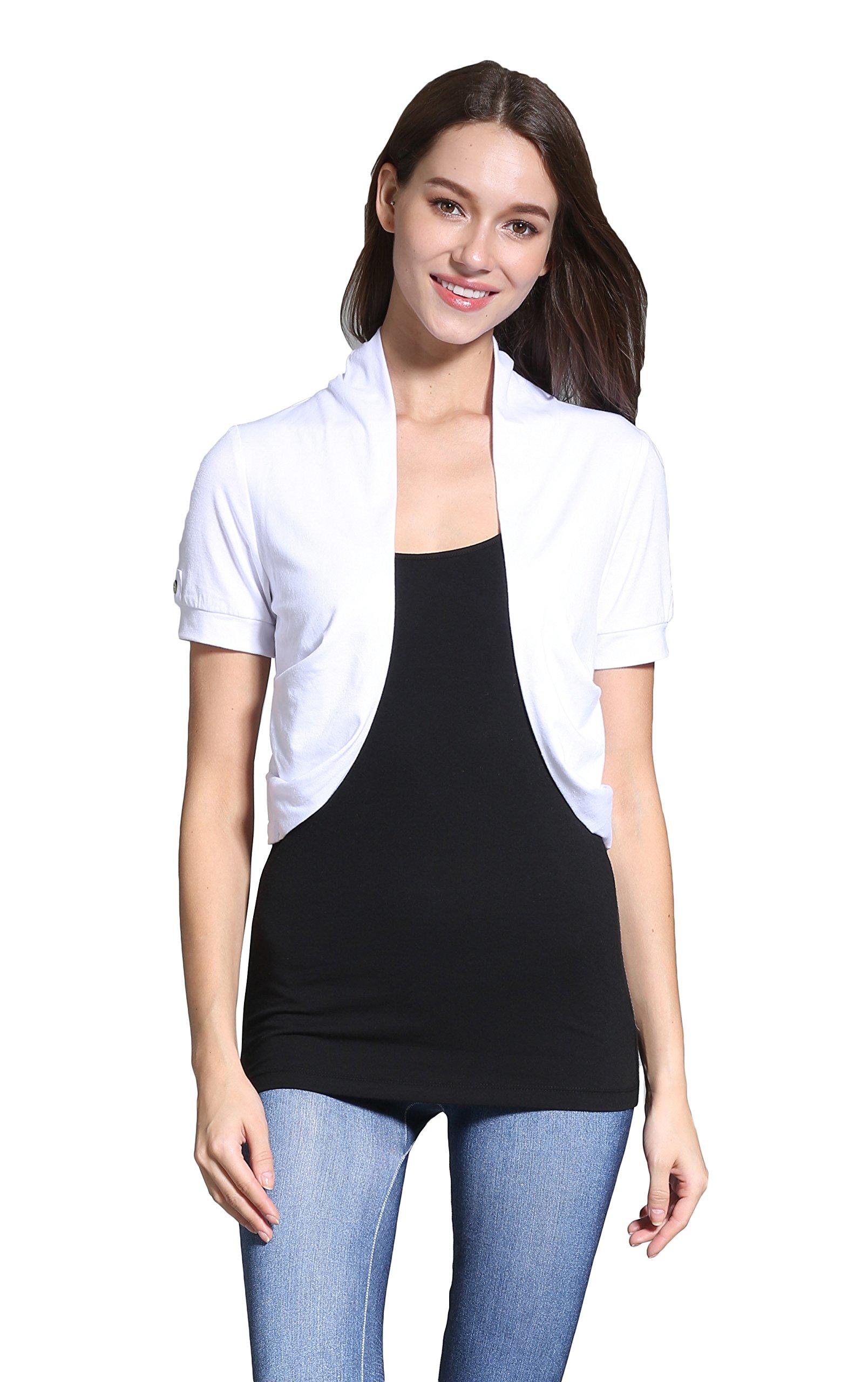Sofishie Short Sleeve Bolero Shrug - White - Small