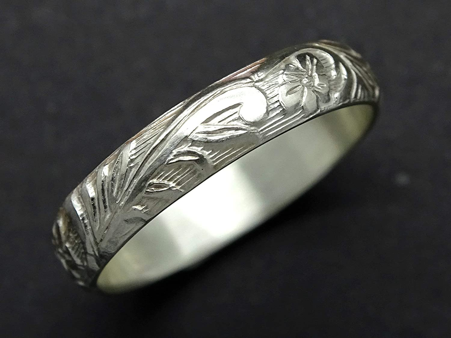 Silver woodland winery hand engraved flowers and leaves botanical womens wedding ring sterling silver wide women band artisan floral ring