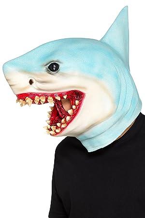 Smiffys 48833 - Máscara de tiburón unisex para adulto, color azul, talla única