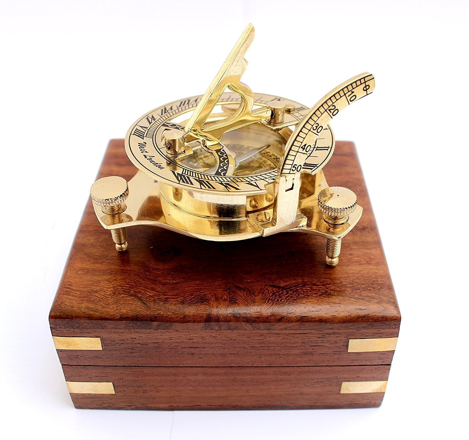 "3"" Antique Clock Nautical West London Sundial Compass With HandCrafted Wooden box Mad Over Decor"
