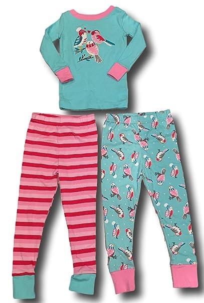 Kirkland Signature Girls Mix and Match 3 Piece Organic Cotton Pajama Set  (Winter Birds 6c1fd58a8