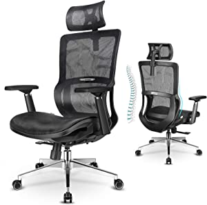 mfavour Ergonomic Office Chair Computer Mesh Chair with 3D Armrest Office Chair with Lumbar Support Adjustable Headrest Home Office Chair for Study, Work and Gaming