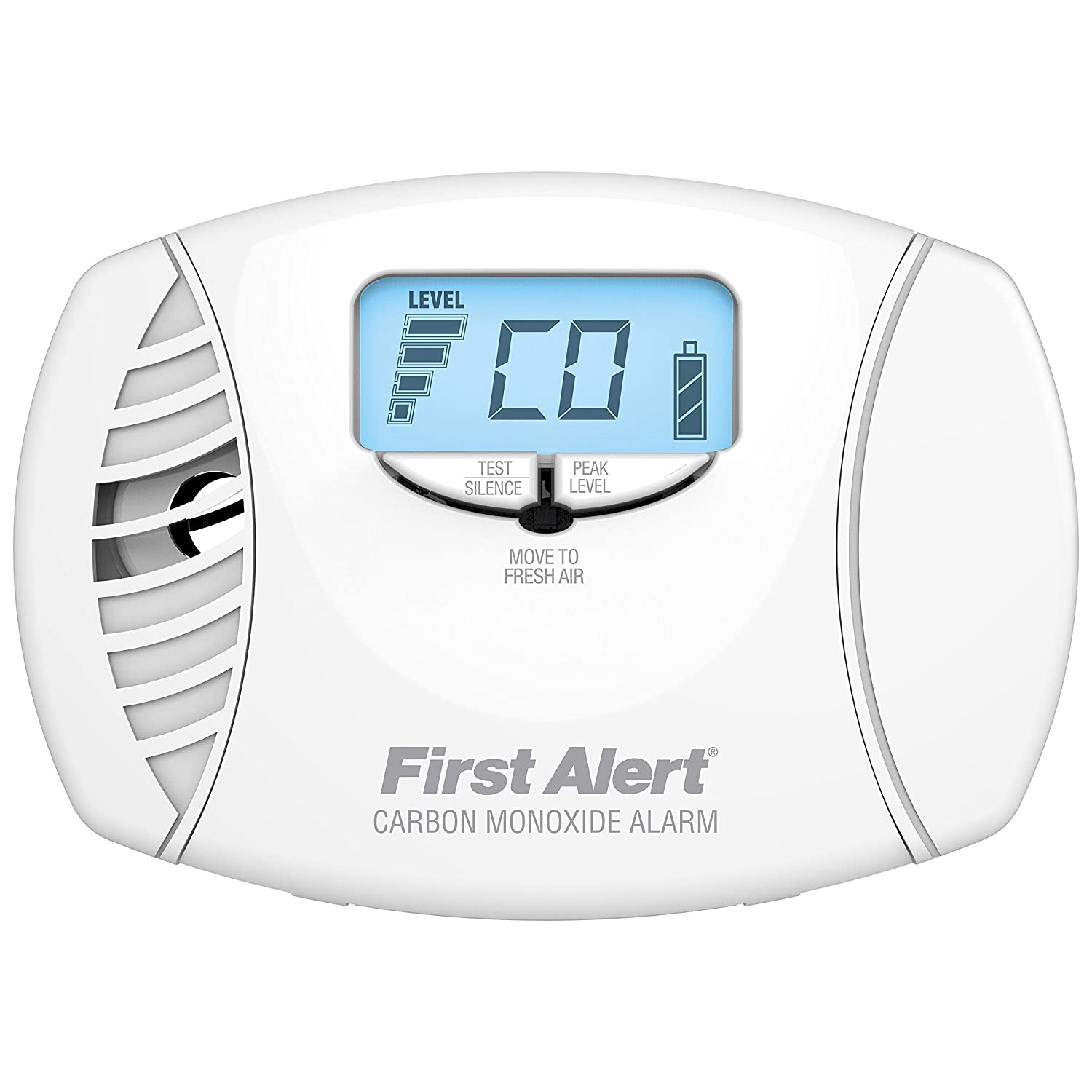 First Alert Frust Free Dual Power Carbon Monoxide Plug-in Alarm with Battery Backup and Digital Display, CO615FF