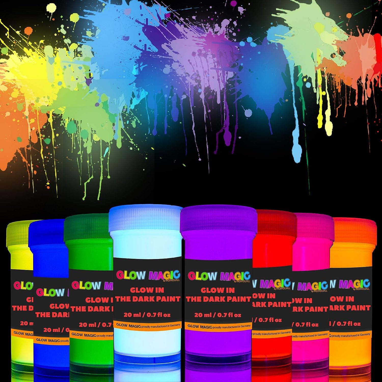 Juego de pintura de neón brillante fosforescente
