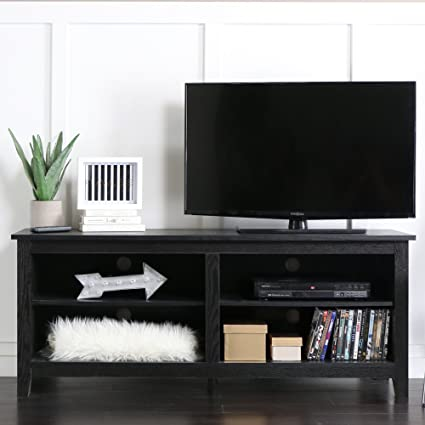 Amazon Com We 58 Wood Tv Stand Storage Console Black Kitchen