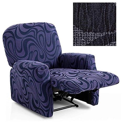 Jarrous Funda de Sillón Relax Completo Elástica Modelo California, Color Negro-11, Medida 60-80cm Respaldo