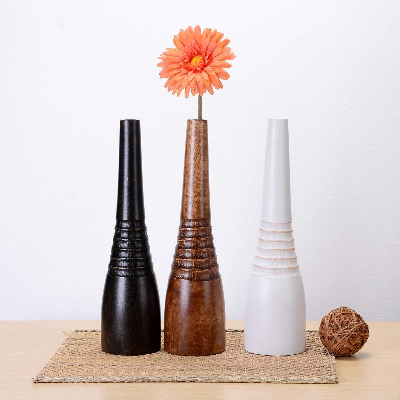 Decorative Round Hand Carved Vase Eco-Friendly and Sustainable Wood Villacera Handmade 15 Tall Mango Black Bottle Large