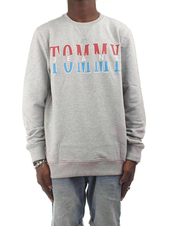Felpa Tommy Jeans DM0DM04461 Uomo Hilfiger Denim Grigio Girocollo Regular Fit