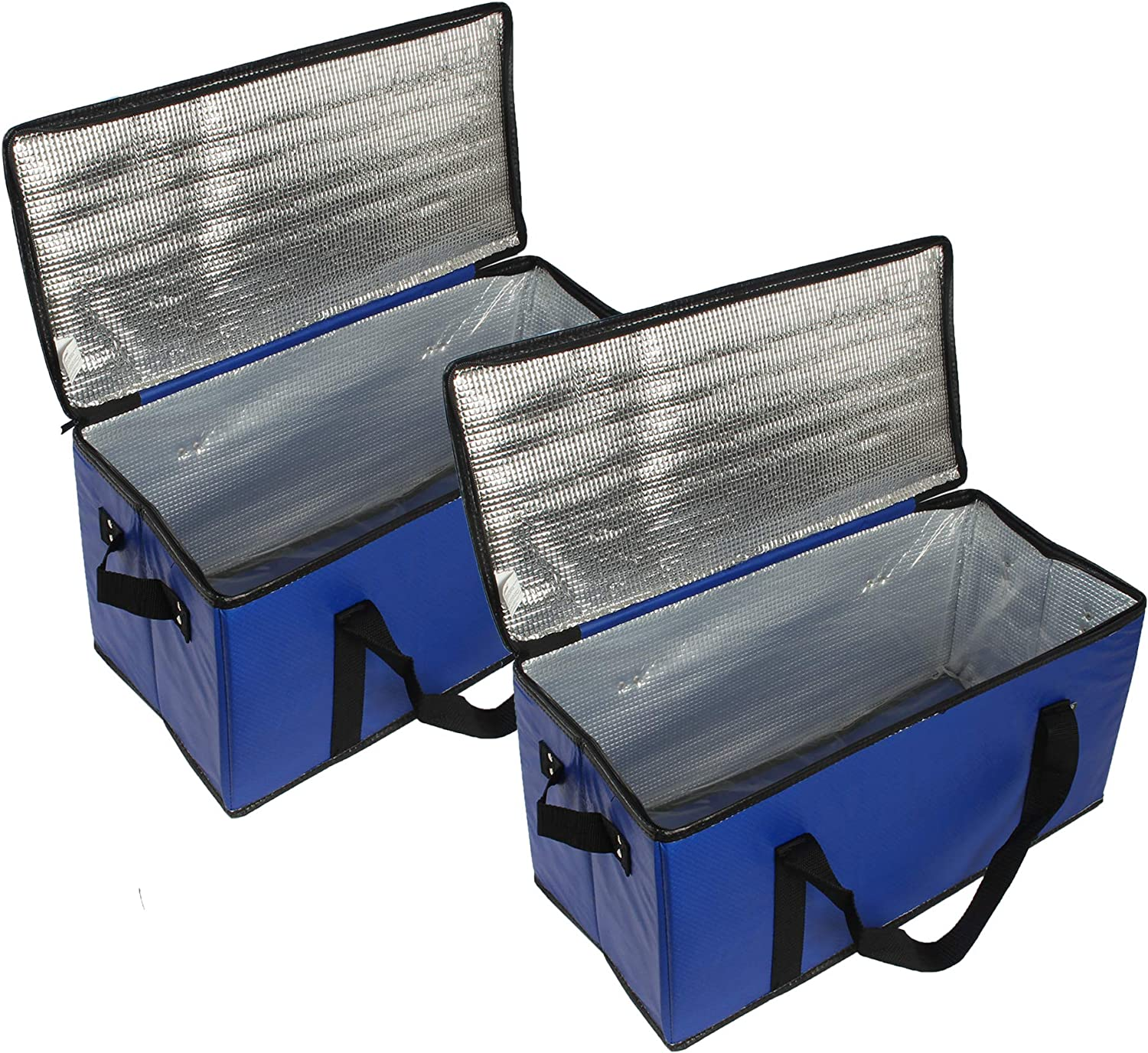 Earthwise Insulated Food Delivery Grocery Bag Carrier (Set of 2) Collapsible Extra Large Waterproof Reusable Shopping Tote Zipper Top Lid for Hot or Cold Food Reinforced Bottom Panel (Royal Blue)