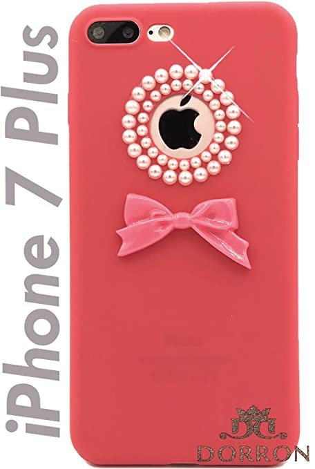 0301500456a DORRON Pearl Bowknot Soft Silicone Back Case Cover for Girls iPhone 7 Plus  (Hot Pink)
