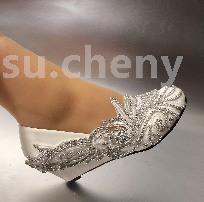 JINGXINSTORE Hohe Absätze Lace Weiß Crystal Hochzeit Schuhe Braut