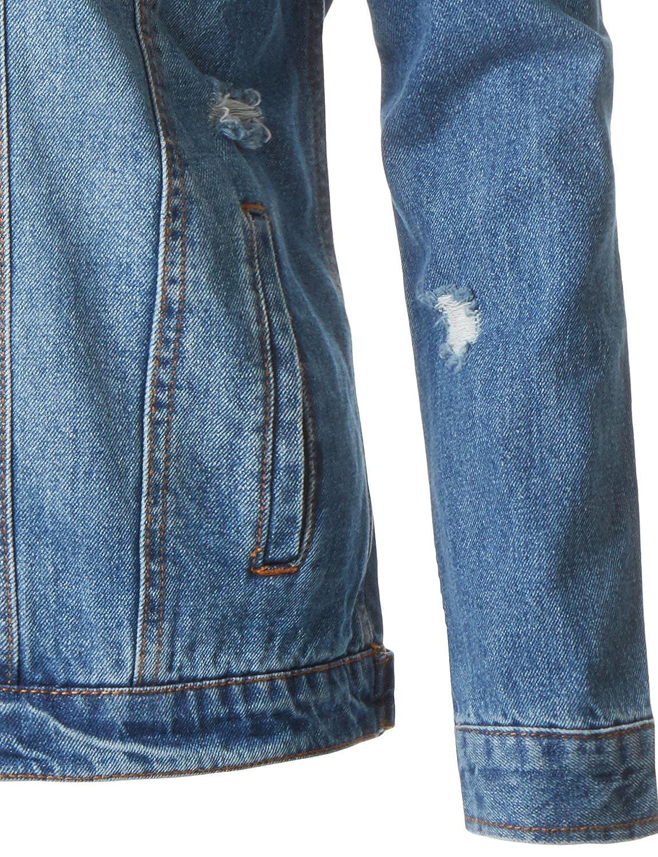 Womens Casual Vintage Ripped Distressed Long Sleeve Oversized Boyfriend Fit Denim Jean Jacket