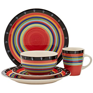 Gibson Home 97694.16r Casa Stella 16-Piece Dinnerware Set, Red