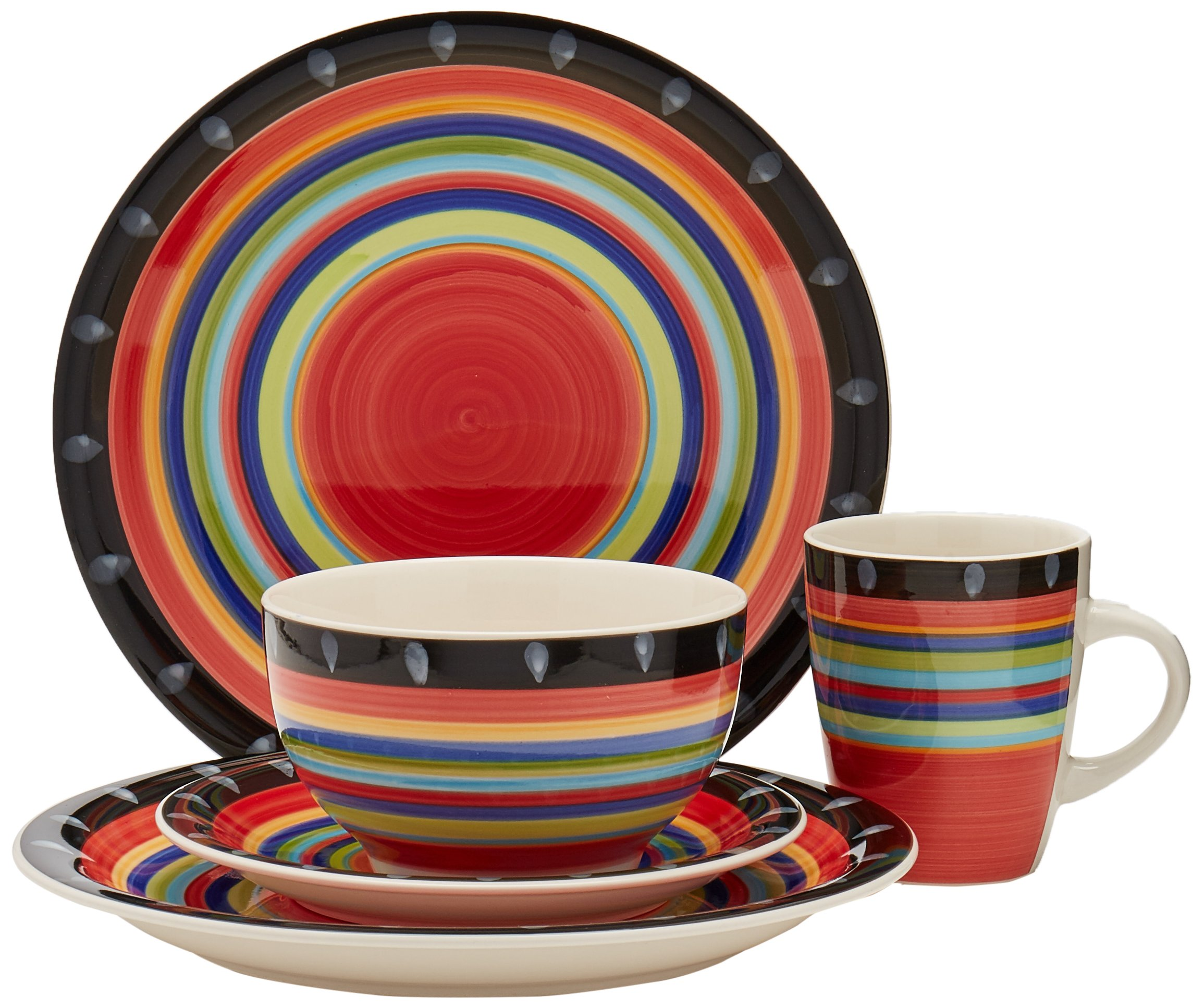 Gibson Home 97694.16r Casa Stella 16-Piece Dinnerware Set, Red by Gibson Home (Image #1)
