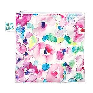 Bumkins Sandwich Bag / Snack Bag, Reusable, Washable, Food Safe, BPA Free, 7x7 – Watercolor