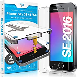 Power Theory Screen Protector for iPhone SE 2016/5S/5/5C [2-Pack] with Easy Install Kit [Premium Tempered Glass]
