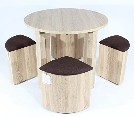 charles jacobs space saver dining table with four brown stools set oak finish premium quality