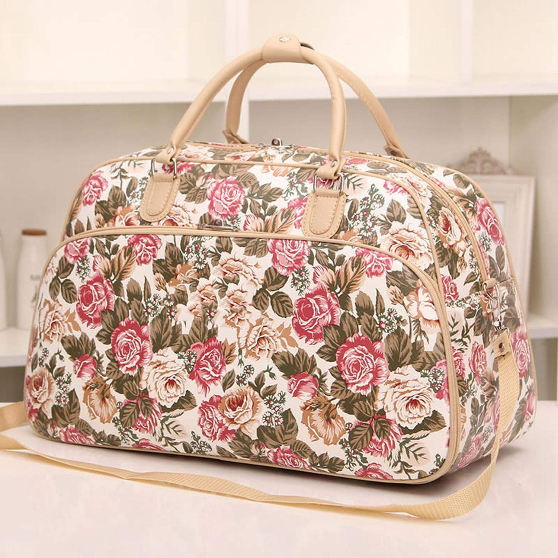 Women Handbag Large Capacity Floral Print Women Travel Bag Tote Duffle Pt797,Flower Small Size,Onesize