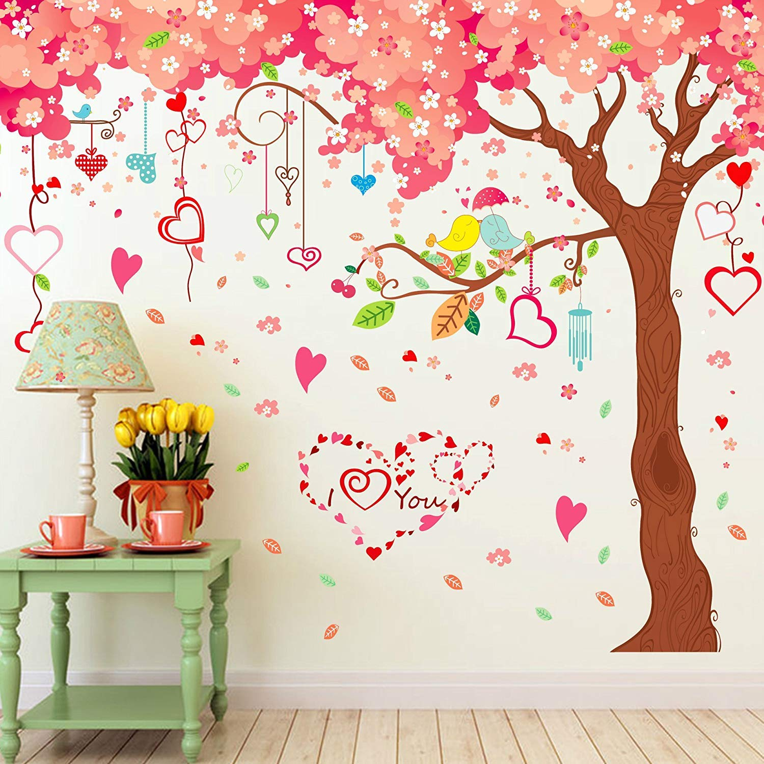 LiveGallery Large Tree Wall Decals Removable Pink Cherry Flower Wall Stickers DIY Heart and Birds Wall Decor 3d art for Home Wall Bedroom Girls Nursery Rooms Living Room Decoration 6 sheets of 12x36