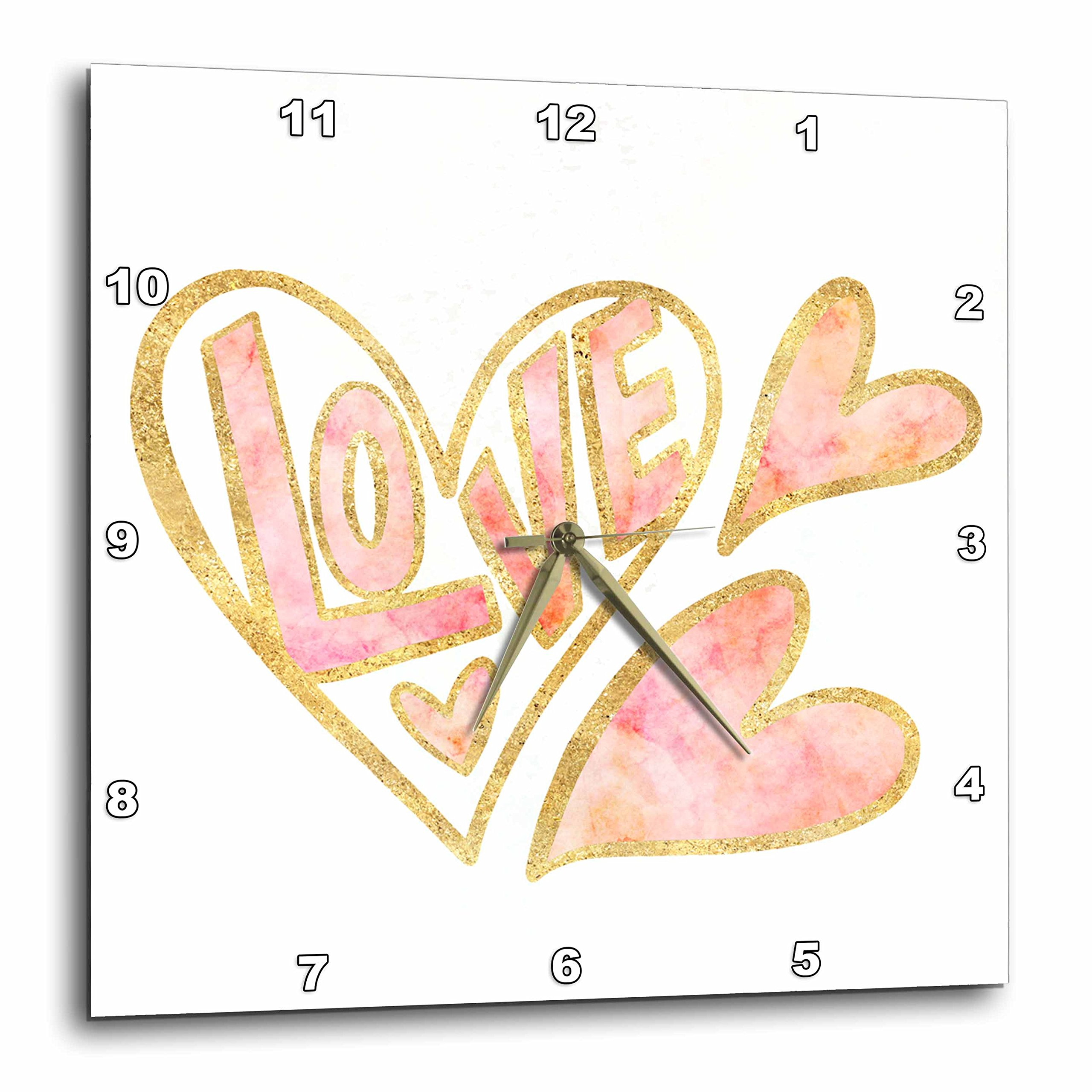 3dRose PS Inspiration - Gold Pink Love Watercolor Hearts - 10x10 Wall Clock (dpp_280754_1) by 3dRose (Image #1)