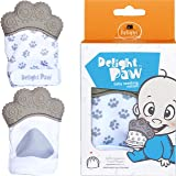 Delight Paw Baby Teething Mitten Mom Designed for Self Soothing Pain Relief | Hygienic Travel Bag | Mittens BPA Free | Like Munch Mitt | Baby Boy or Baby Girl | Babies 0-12 Months | Gleeful Gray