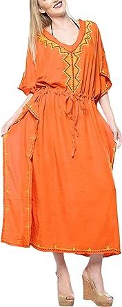 TALLA L-XL. LA LEELA Mujeres caftán Rayón túnica Impreso Kimono Libre tamaño Largo Maxi Vestido de Fiesta para Loungewear Vacaciones Ropa de Dormir Playa Todos los días Cubrir Vestidos I