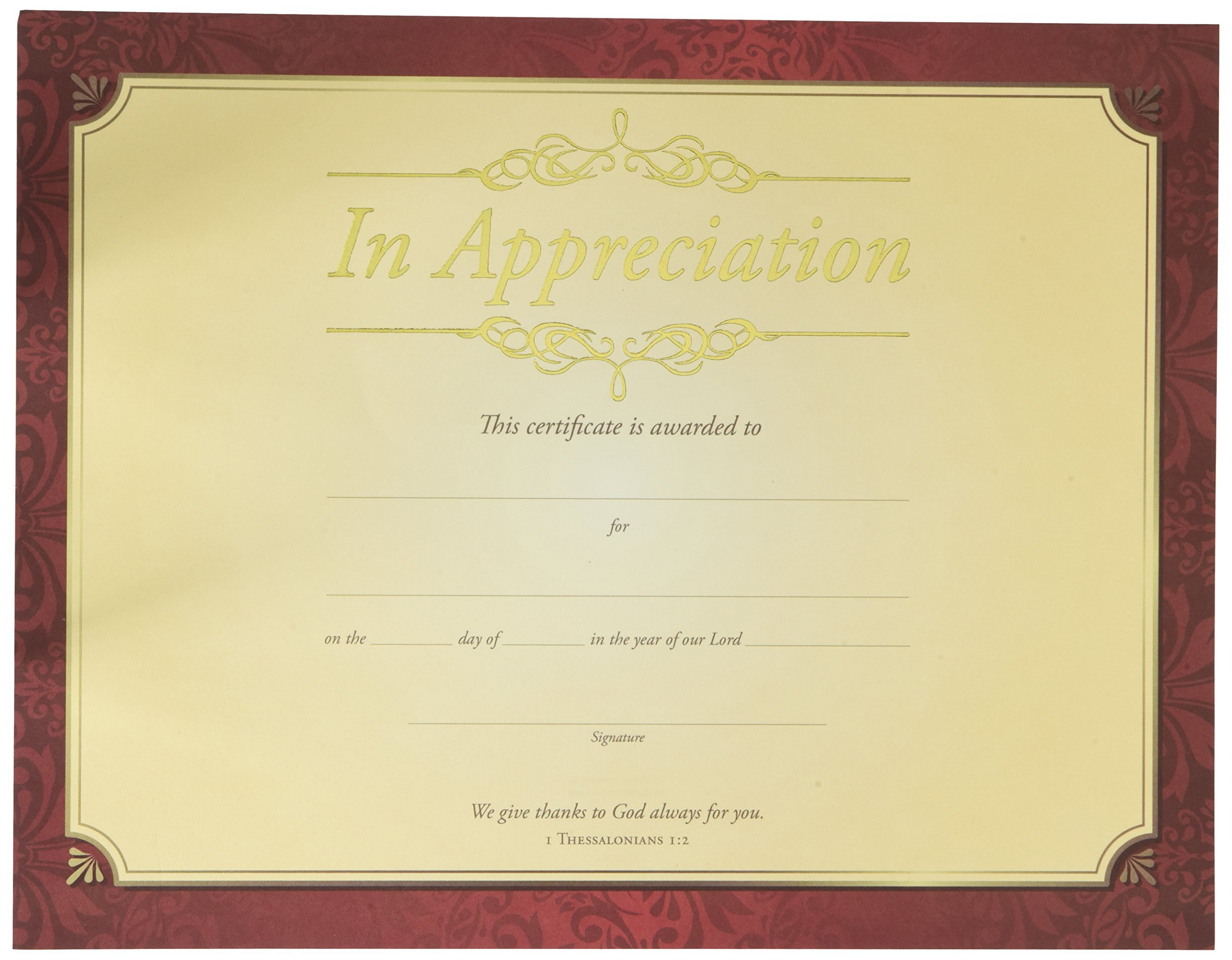 Certificate - Appreciation - In Apprecication - Gold Foil Embossed Premium Stock (Pack Of 6)