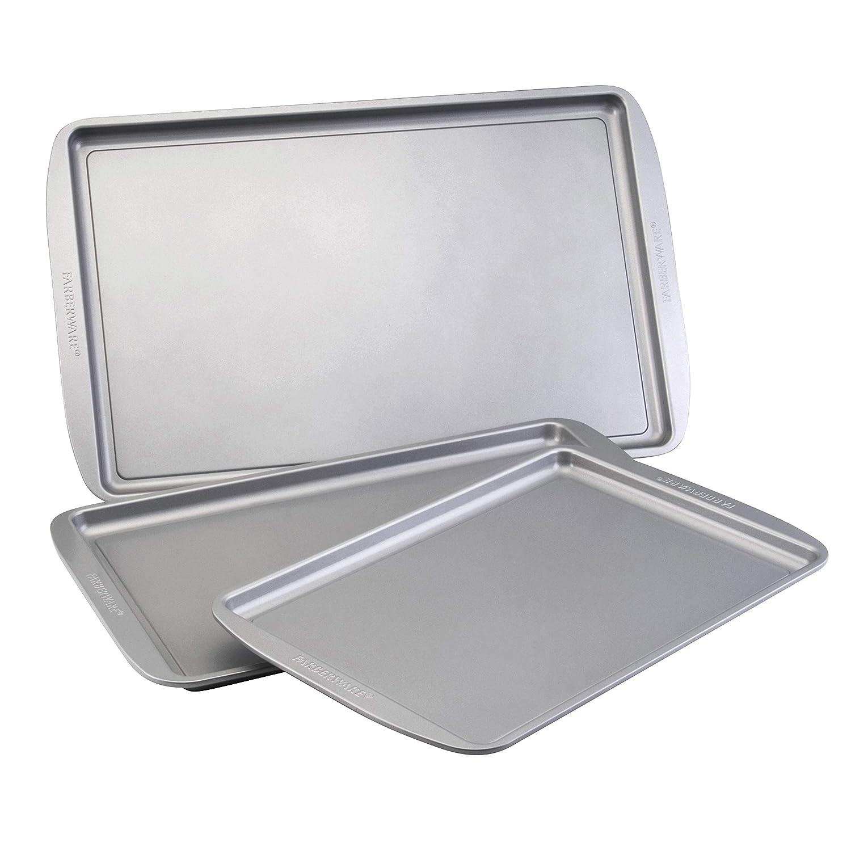 Farberware Nonstick Bakeware 3-Piece Cookie Pan Set, Gray