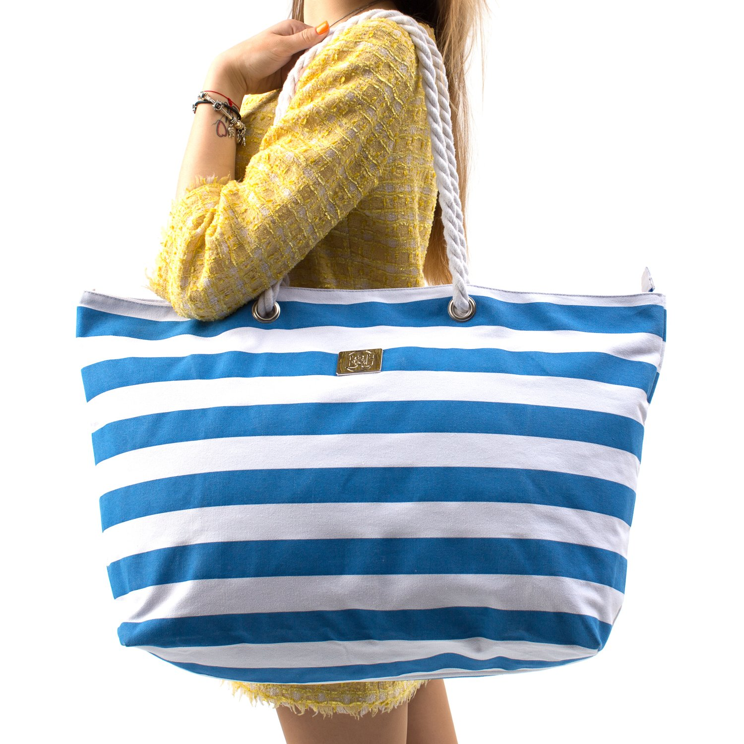Large Canvas Beach Bag - Perfect Tote Bag For Holidays (Blue)