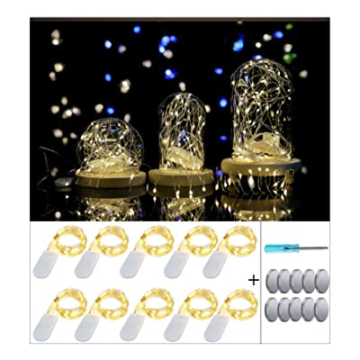 10 Pack Led Fairy String Lights 20 Pre-Installed+10 Replacement Batteries Included, 7.2ft/2.2m 20 Moon Starry LED on Silver Coated Copper Wire - 2 x CR2032 Battery Operated Firefly Lights (Warm White): Home Improvement