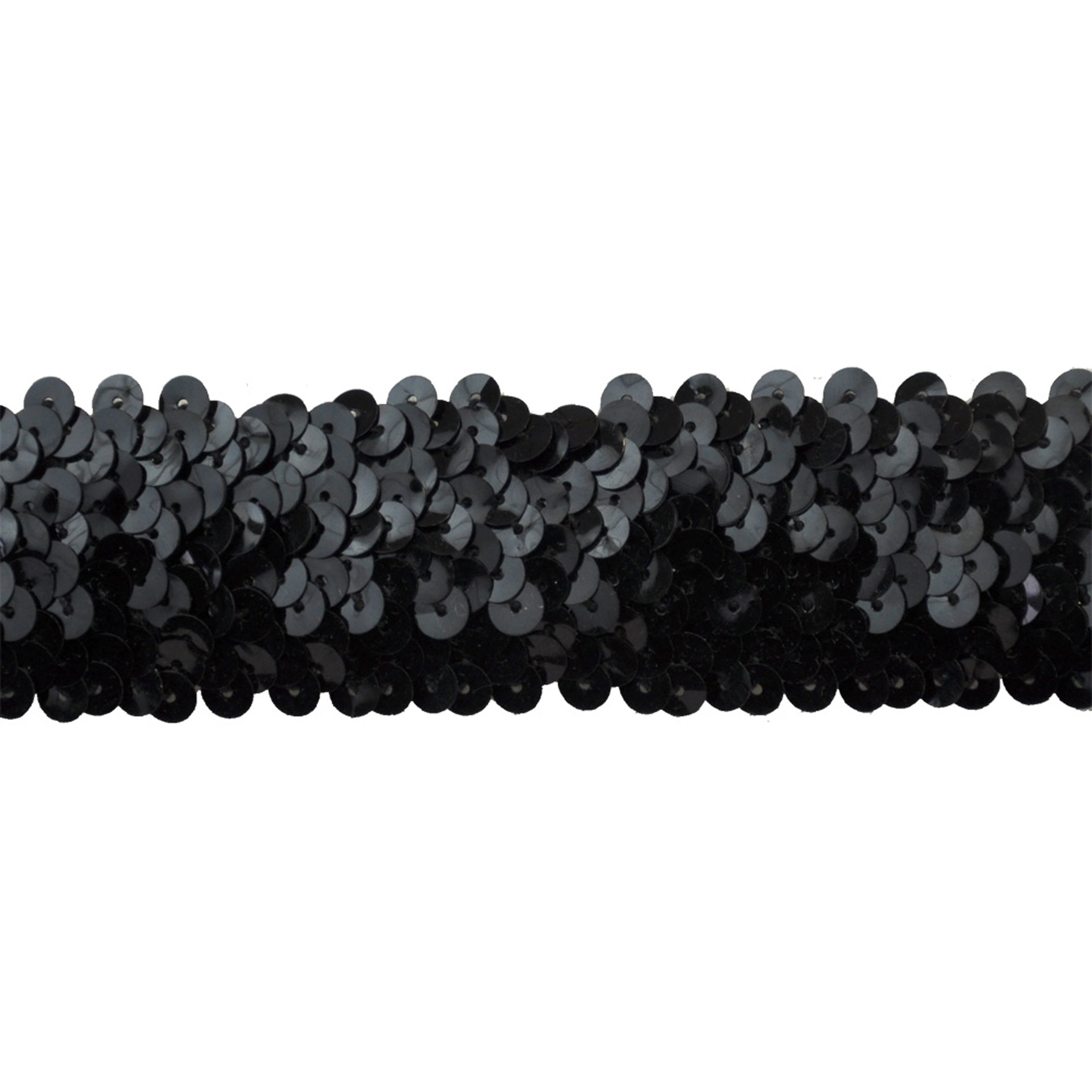 Sequin Trim 1-1/2-Inch Wide Polyester Stretchable Rolls for Arts and Crafts, 10-Yard, Black by Sequin Trim