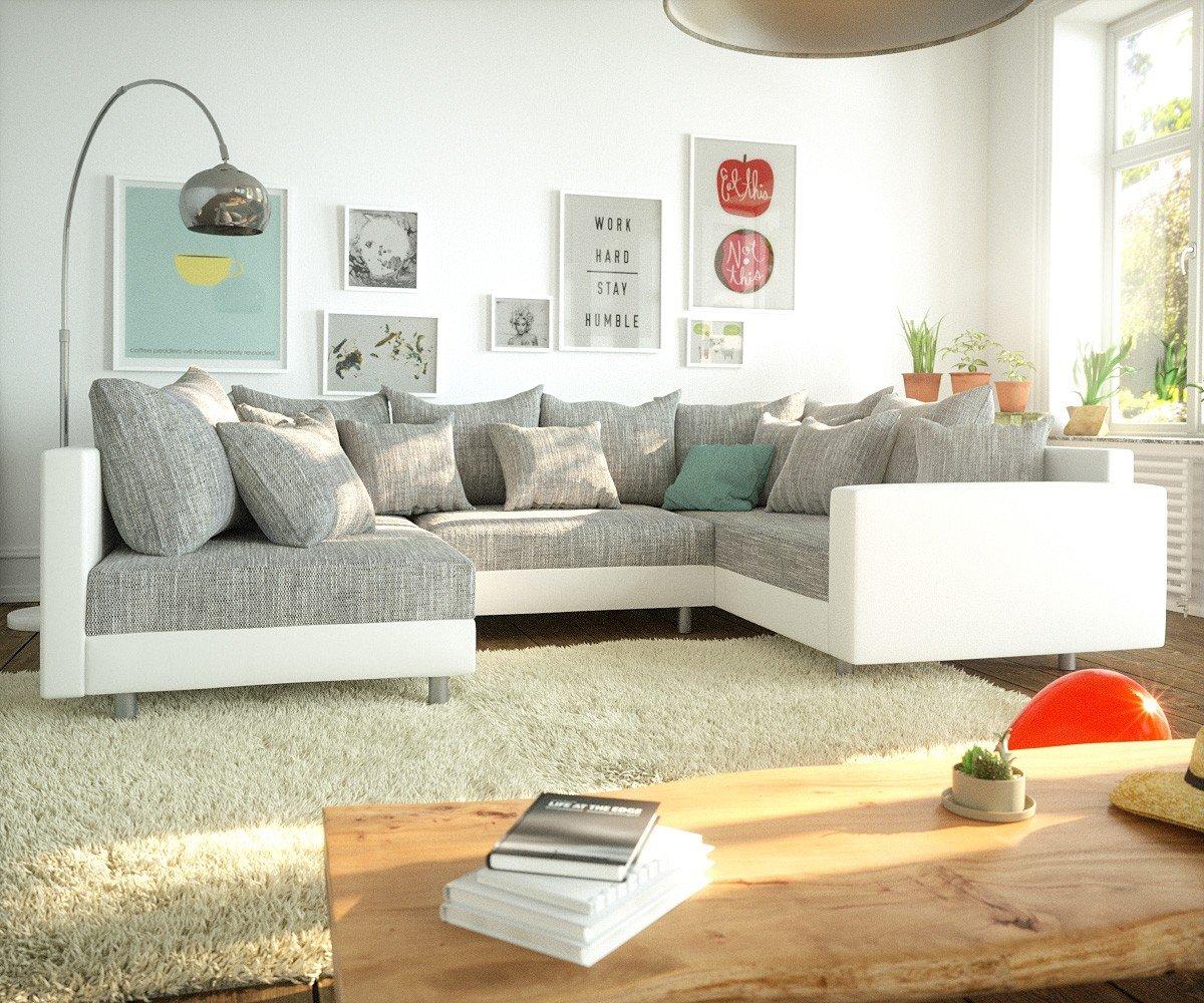 Couch Clovis Weiss Hellgrau Mit Armlehne Wohnlandschaft Modular