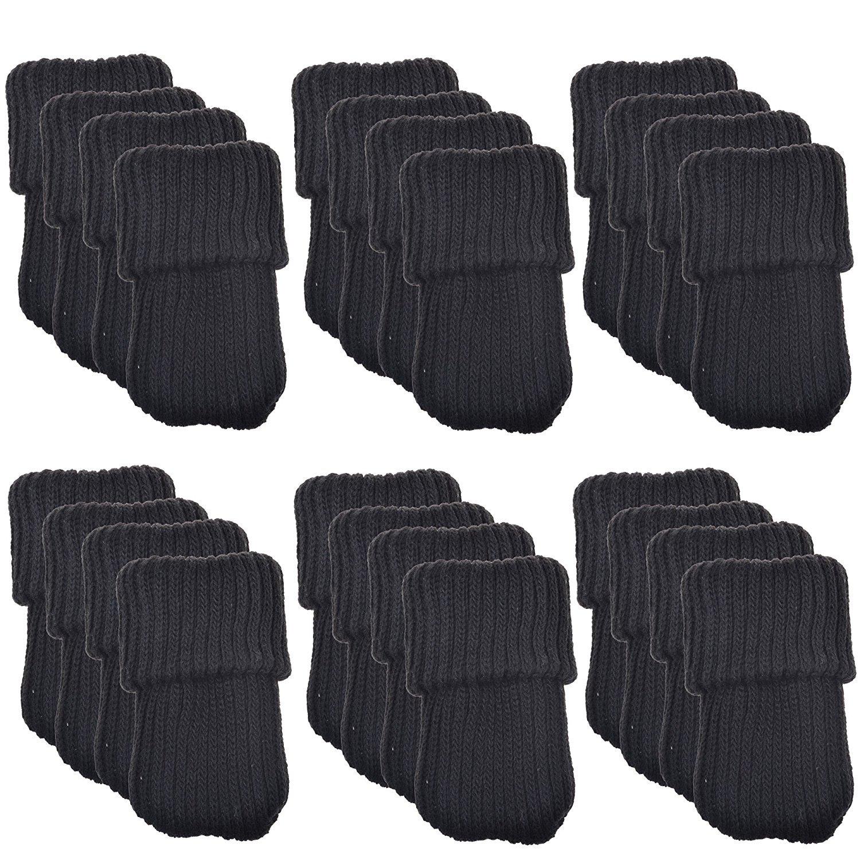 Allure Maek 24pcs Knitting Wool Furniture Socks/ Chair Leg Floor Protector (Black)