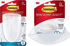 Command Soap Dish, Clear Frosted, 1-Dish, 2-Water-Resistant Strips (BATH14-ES) BATH16-ES-E Razor Holder, Clear Frosted, 1-Holder, 1-Medium Water-Resistant Strip (BATH16-ES)