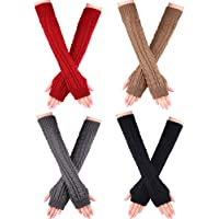 4 Pairs Women Long Fingerless Gloves Winter Mitten Arm Gloves with Thumb Hole for Winter