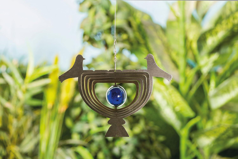 3D Edelstahl Windspiel Vogel mit Echtglaskugel Gartendeko ...