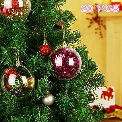 cheap for discount 956ea fff68 Kranich 8cm Plastic Baubles Clear Fillable Christmas Ball 20pcs