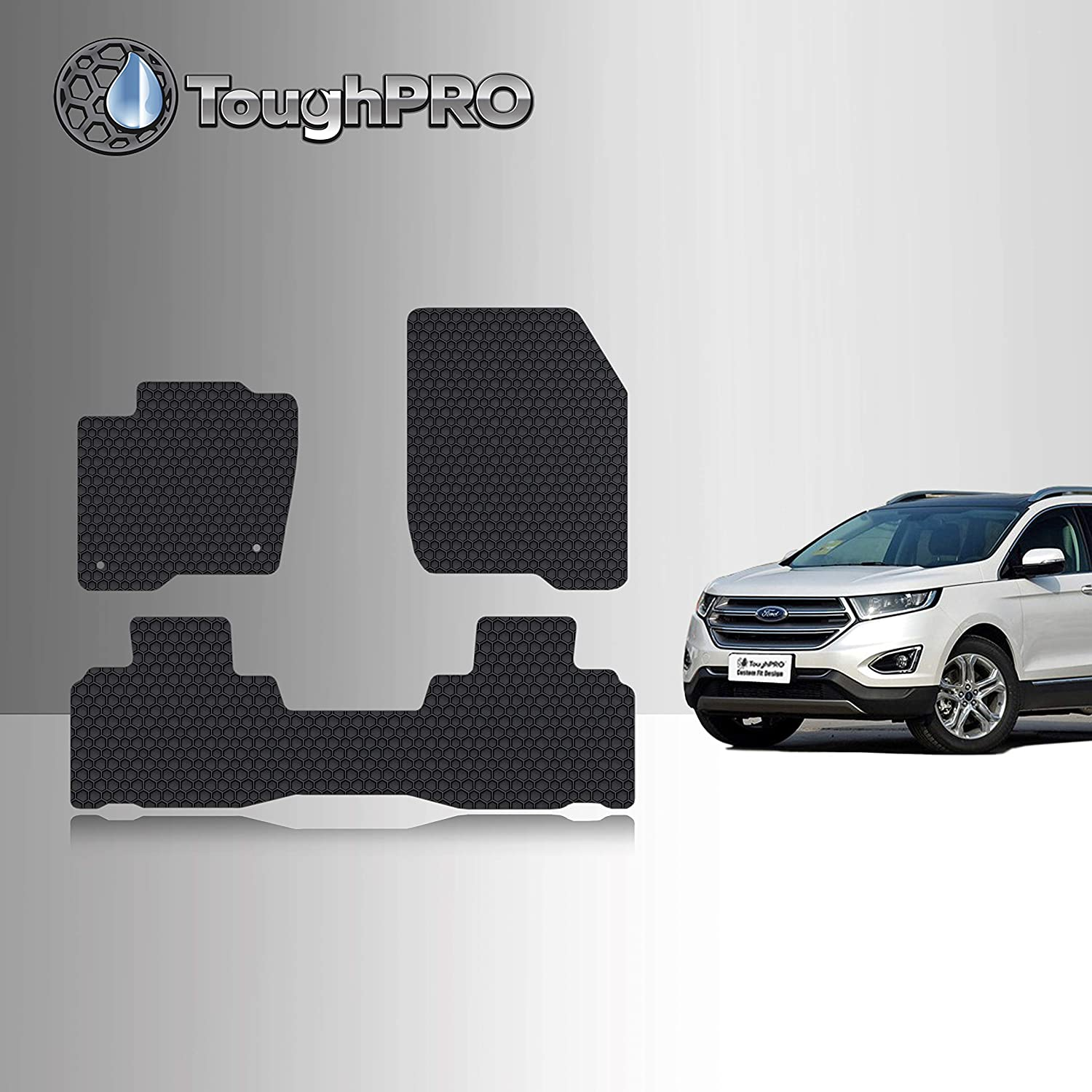 Heavy Duty - All Weather 2020 2019 Compatible with Ford Edge 2016 2018 - Black Rubber TOUGHPRO Floor Mat Accessories Set Made in USA Front Row + 2nd Row 2017 2015