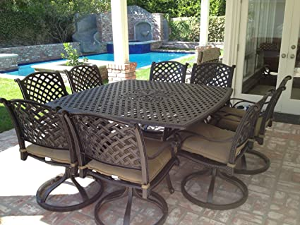 Amazon Com Nassau Cast Aluminum Powder Coated 9pc Outdoor Patio