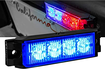 Surface-Mount 72 Flash Mode Multi Units Sync-able SAE Class 1 Blue Emergency Warning Grille Police Light for Volunteer Firefighter NanoFlare 4 4W Blue LED Flashing Strobe Light Head