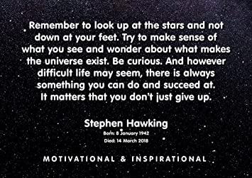 Stephen Hawking Poster 72 A4 Remember To Look Up Quote