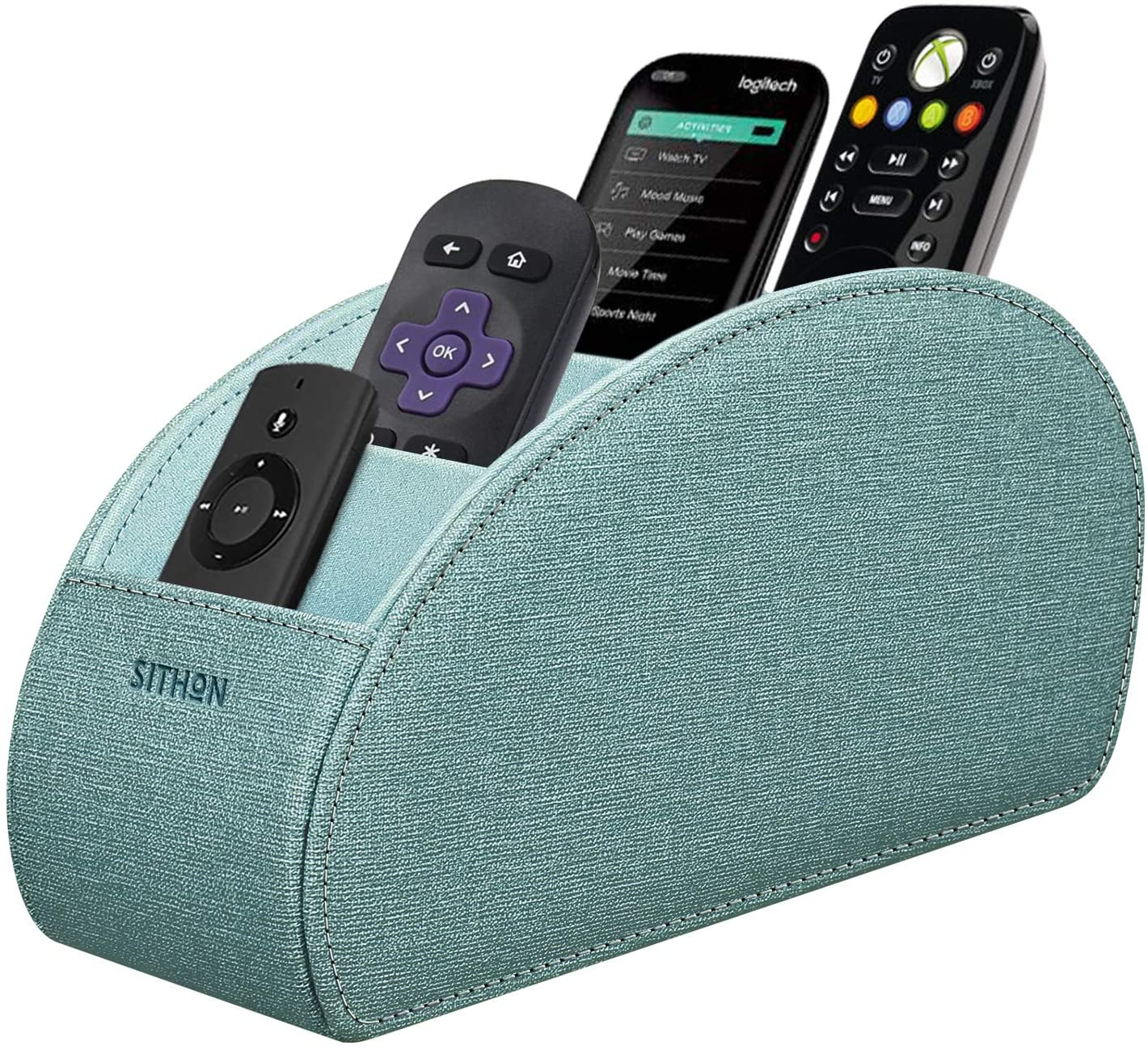 SITHON Remote Control Holder with 5 Compartments - Remote Caddy Desktop Organizer Store TV, DVD, Blu-Ray, Media Player, Heater Controllers, Turquoise