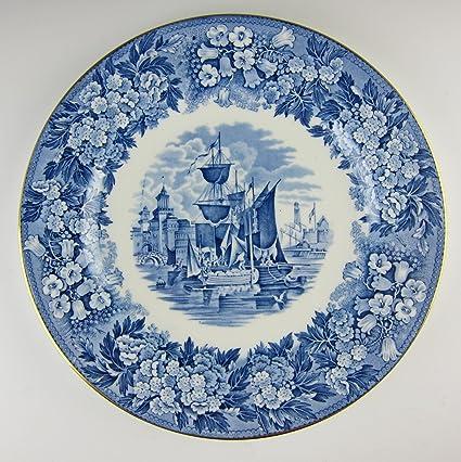 Amazoncom Wedgwood China Ferrara Blue Goldtrim Dinner Plates