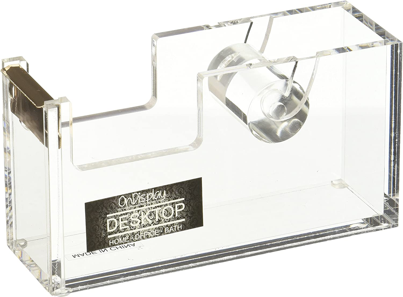 CLEAR /& METALLIC GOLD STRIPE OnDisplay ACRYLIC DESKTOP TAPE DISPENSER NEW