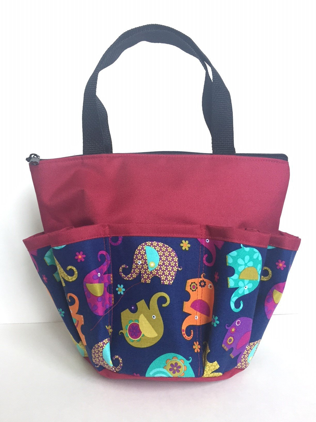 United Novelty 10 Pocket Lucky Elephants Cranberry Zipper Bingo Bag
