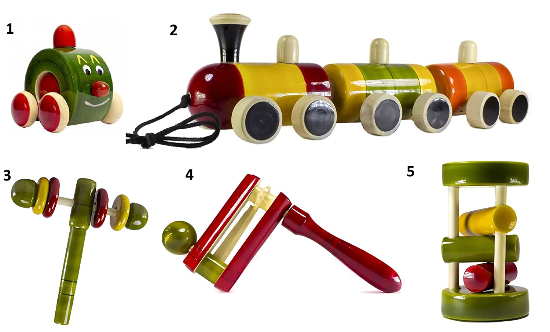 5 Pieceベビー木製Rattles and Cars Toys Set :モデルrw-gl001   B06XFDLLPZ
