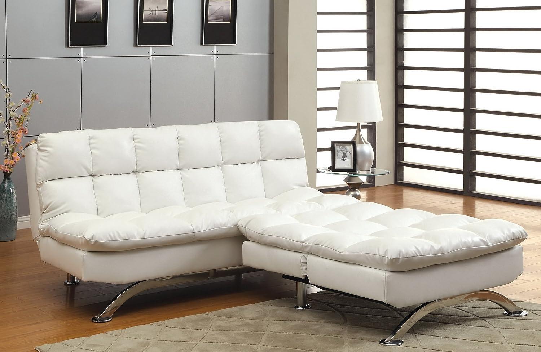 Amazon.com: Furniture of America Ethel Leatherette Convertible Sofa ...