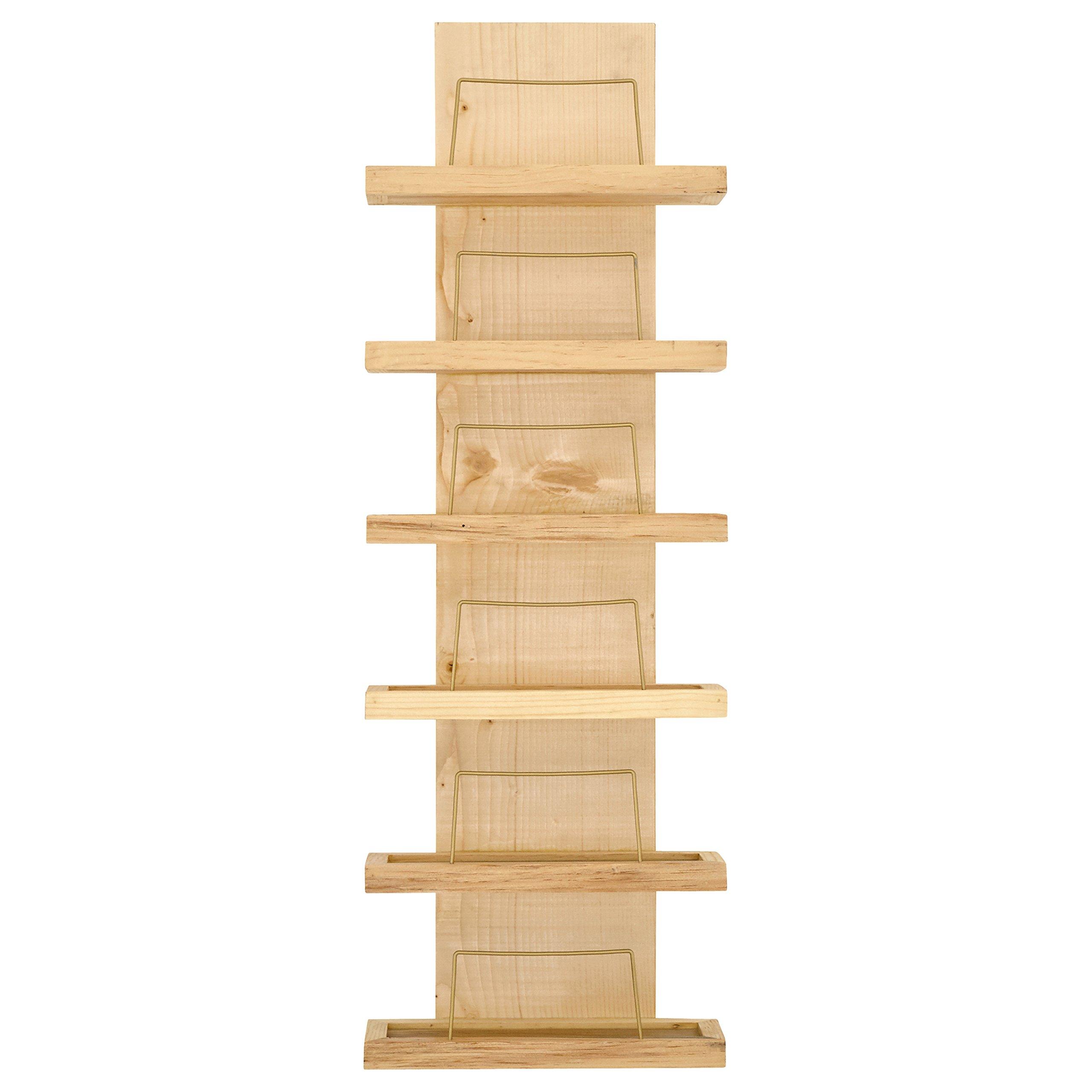 Rivet Rustic Decorative 6-Bottle Wood Wine Rack, 37''H, Natural